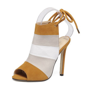 Rainbow High-Heeled Fish Mouth Sandals-Shoe-Trendy-JayBoutique-brown-4.5-Trendy-JayBoutique