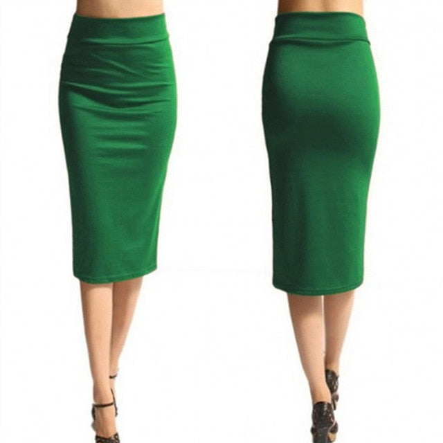 Super Stretchy Pencil Skirt-Skirt-Trendy-JayBoutique-green-S-Trendy-JayBoutique