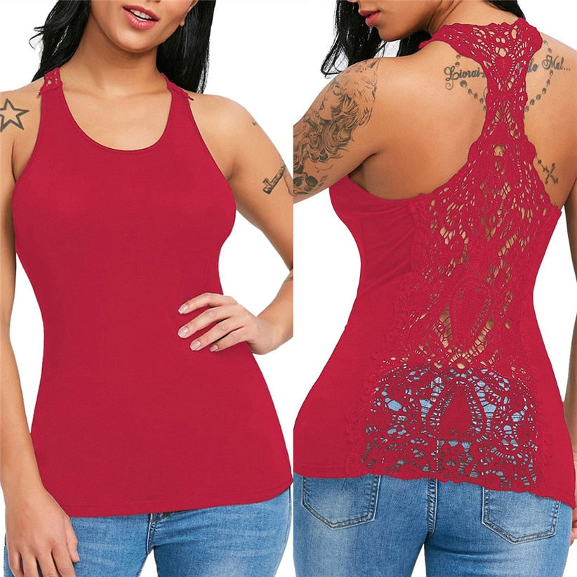 Sexy Lace Trim Racer back Top-Blouse & Top-Trendy-JayBoutique-Red-S-China-Trendy-JayBoutique