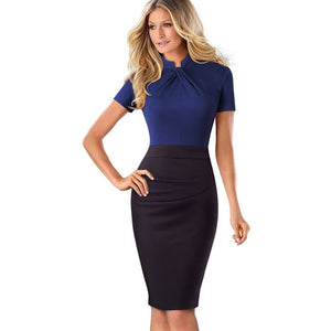 Vintage Contrast-Color Bodycon Dress-Dress-Trendy-JayBoutique-Navy without Keyhole-S-Trendy-JayBoutique