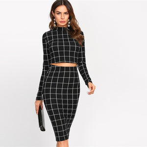 Women Crop Grid Top and Pencil Skirt-Blouse & Top-Trendy-JayBoutique-Black-XS-Trendy-JayBoutique