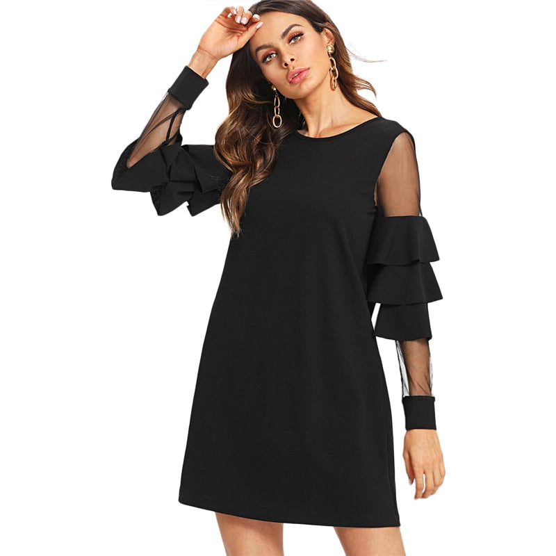 Contrast Mesh Tiered Layer Mini Dress-Dress-Trendy-JayBoutique-Black-XS-Trendy-JayBoutique