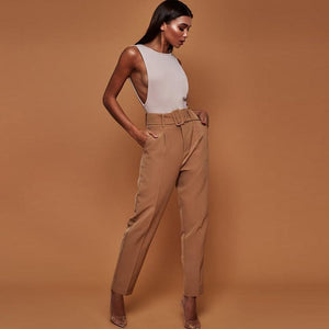 Office Lady - Belted Straight Leg Pants-Trouser-Trendy-JayBoutique-khaki-S-Trendy-JayBoutique