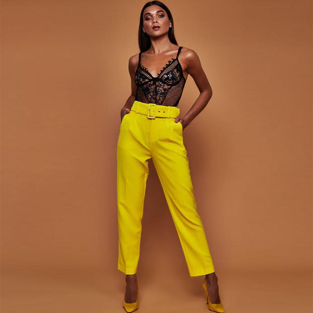 Office Lady - Belted Straight Leg Pants-Trouser-Trendy-JayBoutique-yellow-S-Trendy-JayBoutique