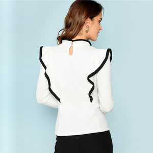 White Ruffle-Trim Long Sleeve Top-Blouse & Top-Trendy-JayBoutique-White-XS-Trendy-JayBoutique