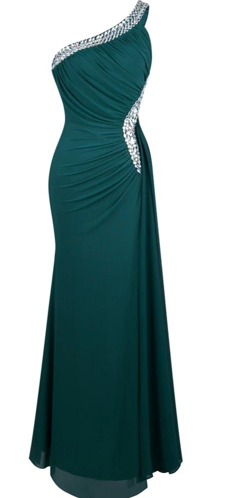Angel Draped Evening Dress-bridesmaid dress-Trendy-JayBoutique-green tulle 411-12-China-Trendy-JayBoutique