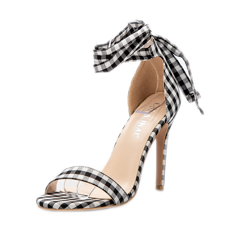 Scottish-Plaid Strap Lace Up Party Heels-Plaid Sandals-Trendy-JayBoutique-Black-5.5-Trendy-JayBoutique