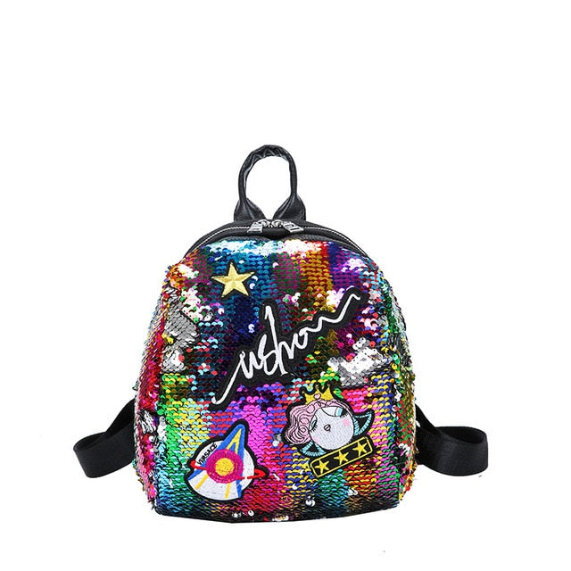 Mini Sequined Backpack with Cute embroidery-handbag-Trendy-JayBoutique-1-Trendy-JayBoutique