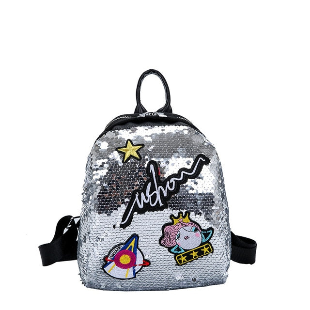 Mini Sequined Backpack with Cute embroidery-handbag-Trendy-JayBoutique-3-Trendy-JayBoutique