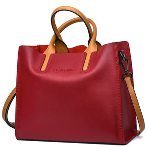 Genuine Leather - Women's Messenger Shoulder Bag-Trendy-JayBoutique-Burgundy-(30cm<Max Length<50cm)-Trendy-JayBoutique