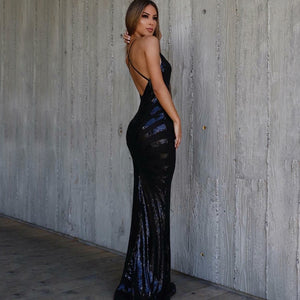 Sequined Maxi Dress-V Neck-Maxi Dress-Trendy-JayBoutique-Black-L-Trendy-JayBoutique