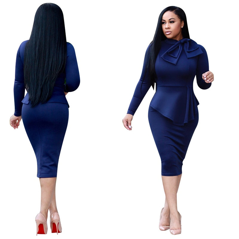 Bow-Neck Peplum Pencil Midi Dress-peplum dress-Trendy-JayBoutique-Blue-S-China-Trendy-JayBoutique