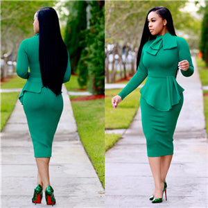 Bow-Neck Peplum Pencil Midi Dress-peplum dress-Trendy-JayBoutique-Green-S-China-Trendy-JayBoutique