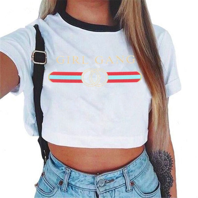 Cute Casual Cropped Top-Tees-Trendy-JayBoutique-T shirt women dkh011-S-Trendy-JayBoutique
