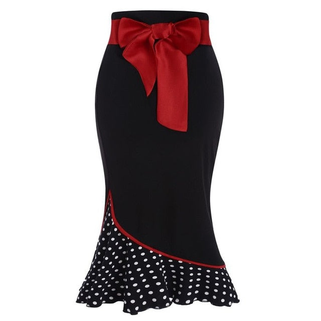 Red Polka-Dot Patchwork Skirt-Skirt-Trendy-JayBoutique-Black-M-Trendy-JayBoutique
