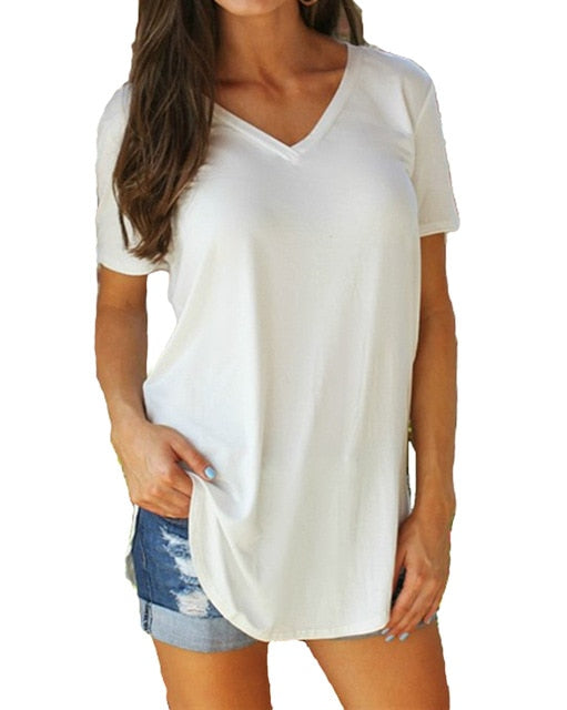 V-Neck Summer Tunic-Tunic-Trendy-JayBoutique-White-L-Trendy-JayBoutique