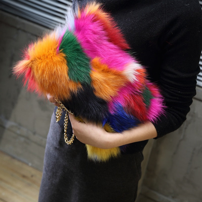 Luxury - Colorful Real Fur Clutch Bag-handbag-Trendy-JayBoutique-random color-29x20x2cm-Trendy-JayBoutique