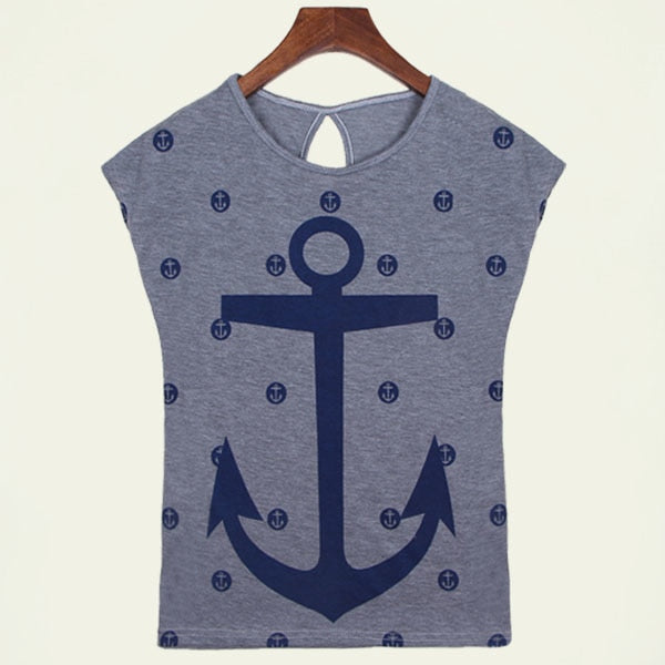 Boat Anchor Cotton T-Shirt-Tees-Trendy-JayBoutique-Gray-L-Trendy-JayBoutique