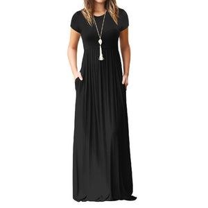 Trendy Short Sleeve Maxi Dress-Maxi Dress-Trendy-JayBoutique-Black-S-Trendy-JayBoutique