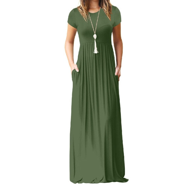 Trendy Short Sleeve Maxi Dress-Maxi Dress-Trendy-JayBoutique-Army Green-S-Trendy-JayBoutique