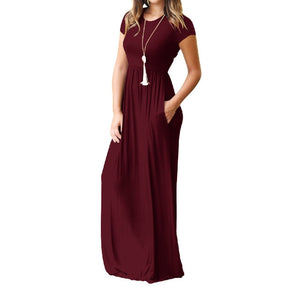 Trendy Short Sleeve Maxi Dress-Maxi Dress-Trendy-JayBoutique-Wine Red-S-Trendy-JayBoutique