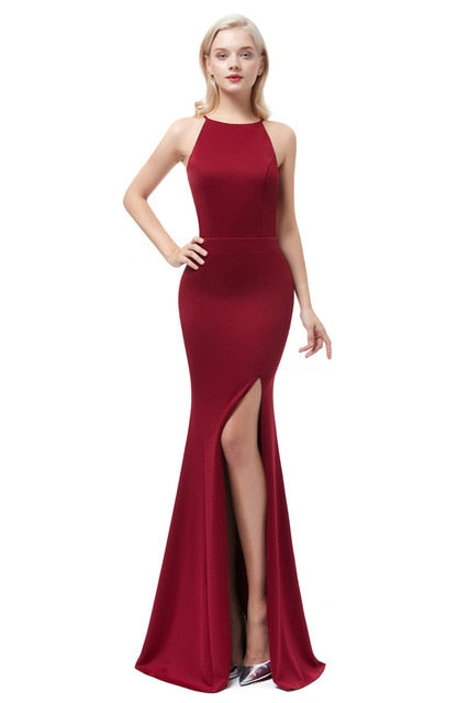 Satin Mermaid Evening Dress-Evening Dress-Trendy-JayBoutique-wine red-2-Trendy-JayBoutique