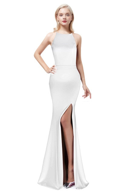 Satin Mermaid Evening Dress-Evening Dress-Trendy-JayBoutique-WHITE-2-Trendy-JayBoutique