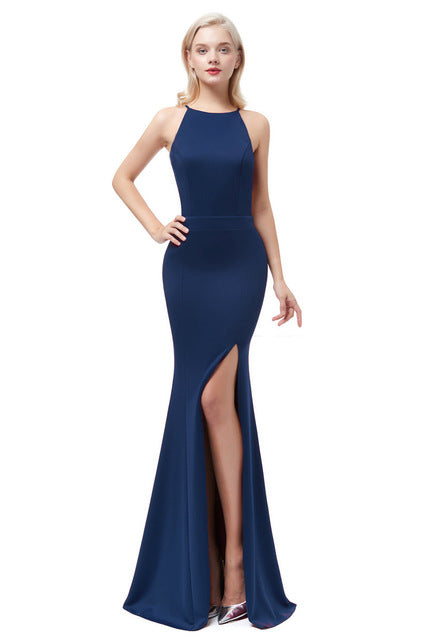 Satin Mermaid Evening Dress-Evening Dress-Trendy-JayBoutique-Navy Blue-2-Trendy-JayBoutique