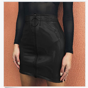 New Arrival- High Waist Leather Pencil Skirt-Leather Skirt-Trendy-JayBoutique-As photo shows 1-S-Trendy-JayBoutique