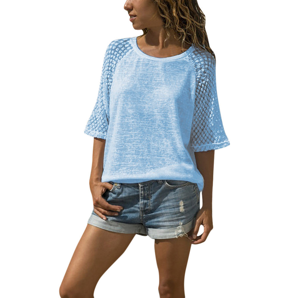 Casual Lace Stitching Cropped Sleeves T-Shirt-Blouse-Trendy-JayBoutique-Blue-S-China-Trendy-JayBoutique