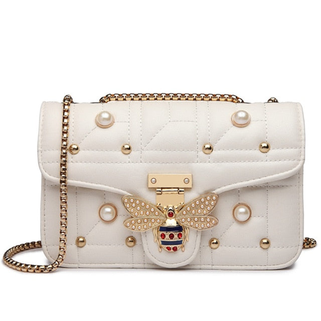 Trendy Chain-Strap Leather Handbag-handbag-Trendy-JayBoutique-white-Trendy-JayBoutique
