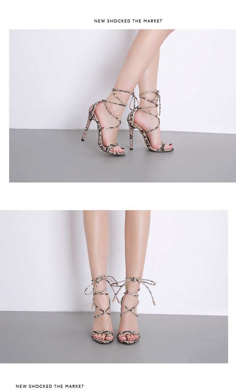 'Lily' Lace-Up High Heel Sandals-Sandals-Trendy-JayBoutique-Serpentine-4-Trendy-JayBoutique