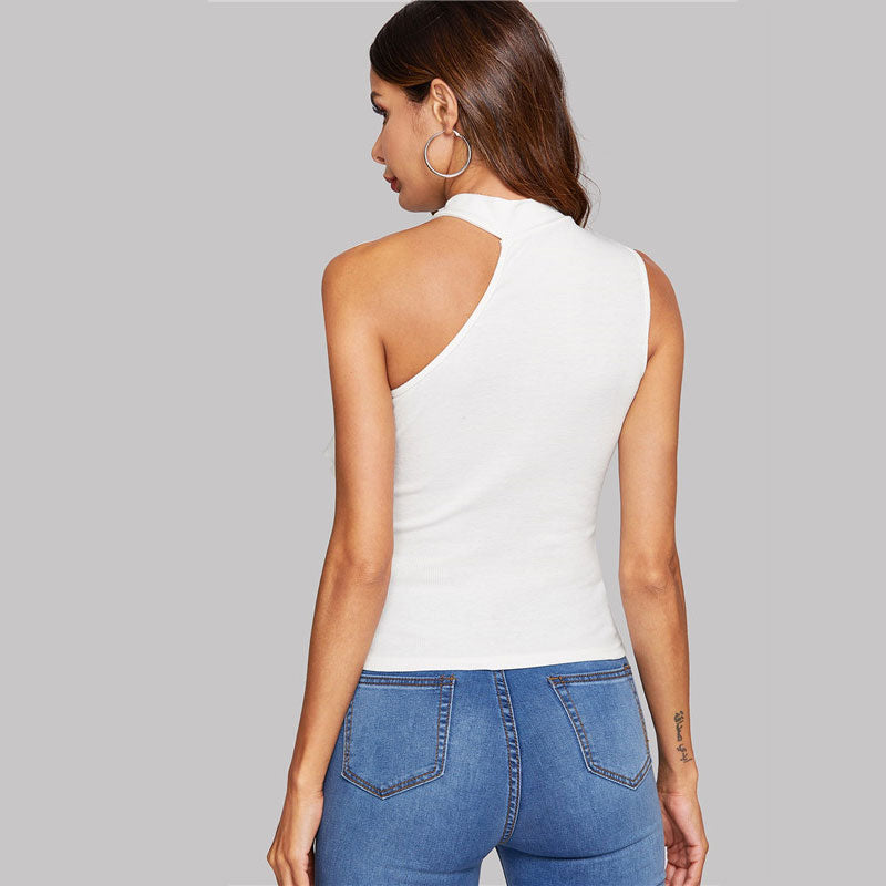 Isabel Top- Asymmetrical Neck Slim Fit Top-Tank Top-Trendy-JayBoutique-White-XS-Trendy-JayBoutique