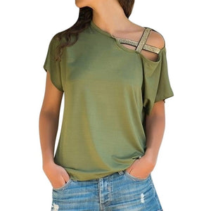 Fashion Strapless Off-Shoulder T-shirt-Blouse & Top-Trendy-JayBoutique-Army green-S-Trendy-JayBoutique