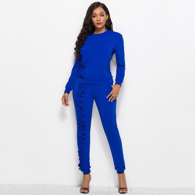 New-Ruffles Solid 2-Piece Tracksuit Set-tracksuit-Trendy-JayBoutique-Royal Blue-XXL-Trendy-JayBoutique