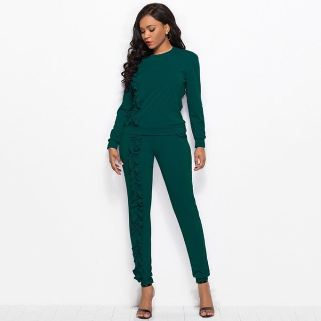 New-Ruffles Solid 2-Piece Tracksuit Set-tracksuit-Trendy-JayBoutique-Green-XXL-Trendy-JayBoutique