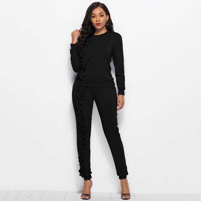 New-Ruffles Solid 2-Piece Tracksuit Set-tracksuit-Trendy-JayBoutique-Black-XXL-Trendy-JayBoutique