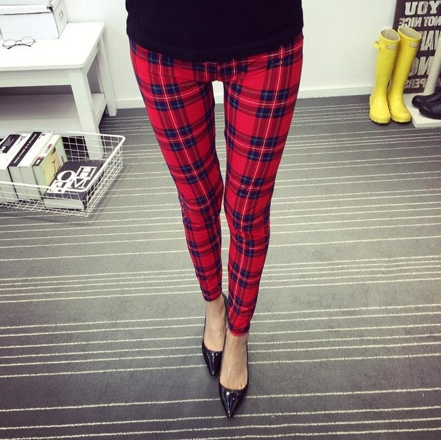 New Print Flower Leggings-Leggings-Trendy-JayBoutique-K092 Red plaid-One Size-Trendy-JayBoutique