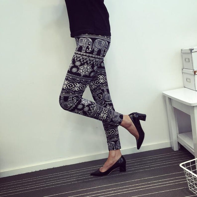 New Print Flower Leggings-Leggings-Trendy-JayBoutique-K092 Black elephant-One Size-Trendy-JayBoutique