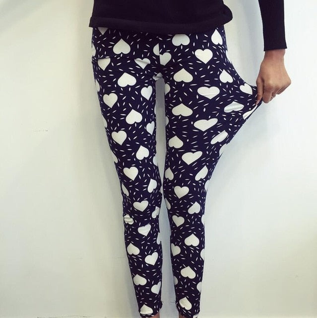 New Print Flower Leggings-Leggings-Trendy-JayBoutique-K092 White Love-One Size-Trendy-JayBoutique