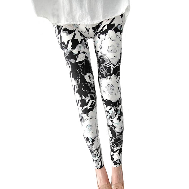 New Print Flower Leggings-Leggings-Trendy-JayBoutique-Big White flower-One Size-Trendy-JayBoutique