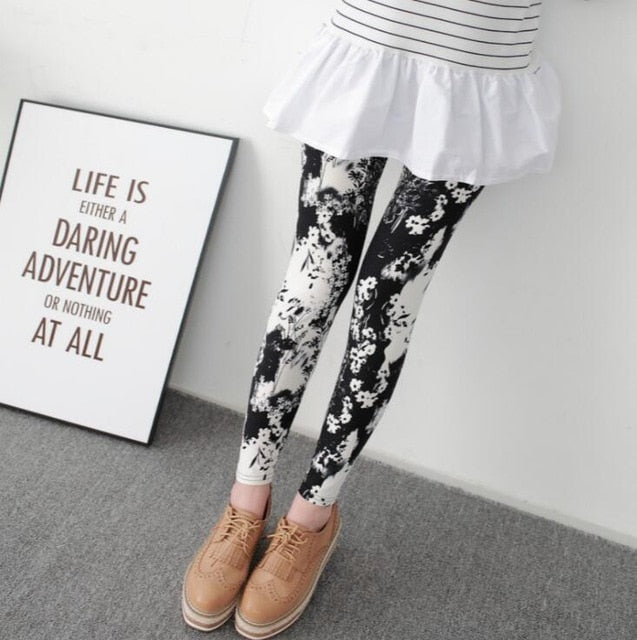 New Print Flower Leggings-Leggings-Trendy-JayBoutique-4 black white flower-One Size-Trendy-JayBoutique