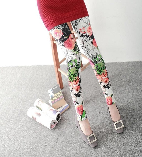 New Print Flower Leggings-Leggings-Trendy-JayBoutique-K092 1 red tea-One Size-Trendy-JayBoutique