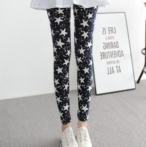 New Print Flower Leggings-Leggings-Trendy-JayBoutique-K092 Blue Star-One Size-Trendy-JayBoutique