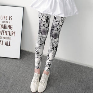 New Print Flower Leggings-Leggings-Trendy-JayBoutique-S059 2 gray flowers-One Size-Trendy-JayBoutique