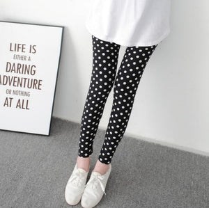 New Print Flower Leggings-Leggings-Trendy-JayBoutique-Black white dots-One Size-Trendy-JayBoutique