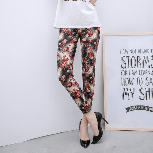 New Print Flower Leggings-Leggings-Trendy-JayBoutique-K092 Small Red Roses-One Size-Trendy-JayBoutique