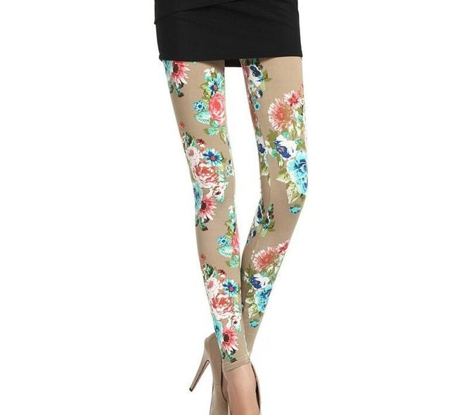 New Print Flower Leggings-Leggings-Trendy-JayBoutique-W030 Khaki print-One Size-Trendy-JayBoutique