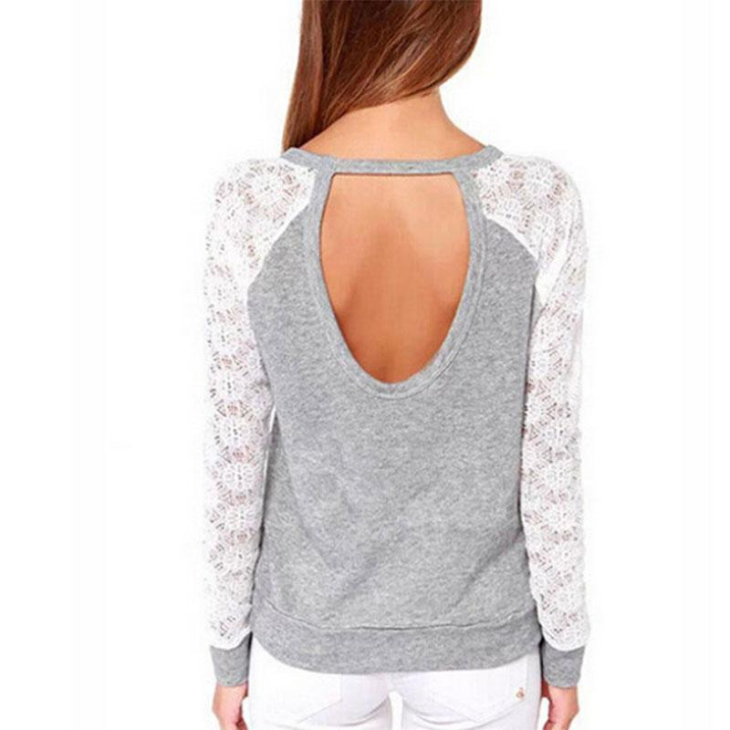 Gray Lace Patchwork Jumper-Jumper-Trendy-JayBoutique-Gray-S-Trendy-JayBoutique