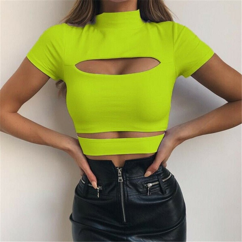 Olive Crop Top - Hollow-Out-Blouse & Top-Trendy-JayBoutique-As photo shows-S-Trendy-JayBoutique
